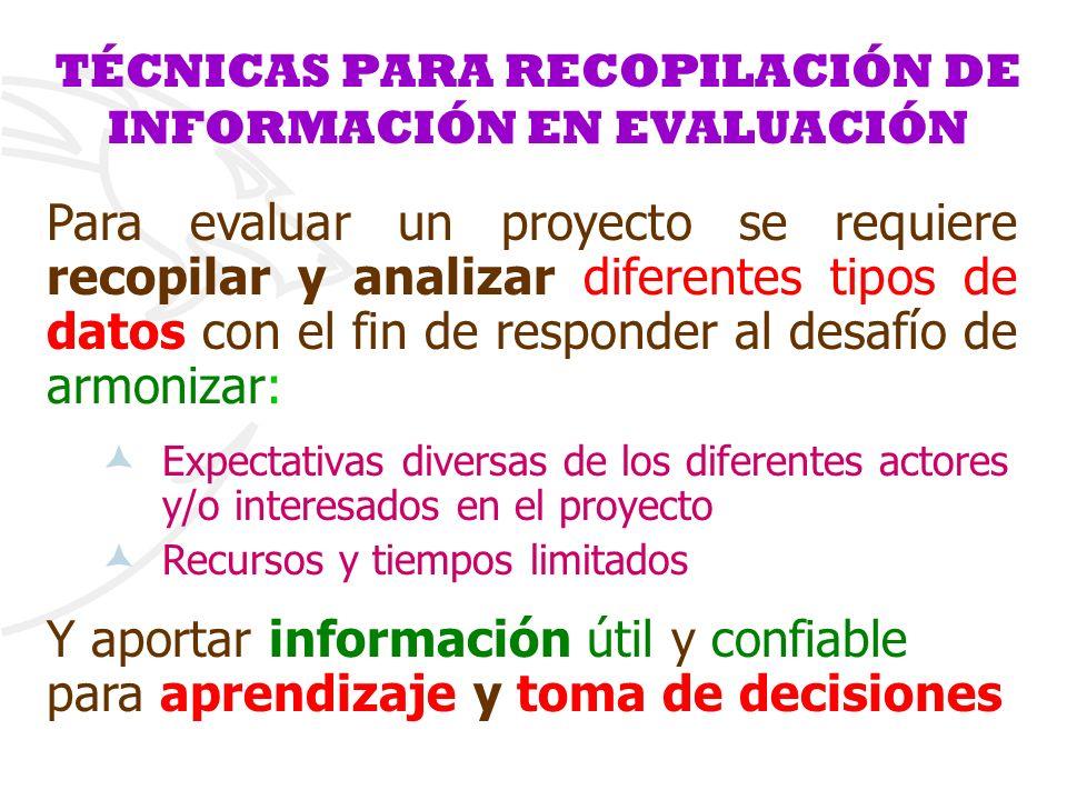 TÉCNICAS PARA RECOPILACIÓN DE INFORMACIÓN EN EVALUACIÓN Para evaluar un proyecto se requiere recopilar y analizar diferentes tipos de datos con el fin