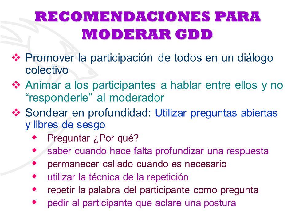 RECOMENDACIONESPARA MODERAR GDD RECOMENDACIONES PARA MODERAR GDD Promover la participación de todos en un diálogo colectivo Animar a los participantes