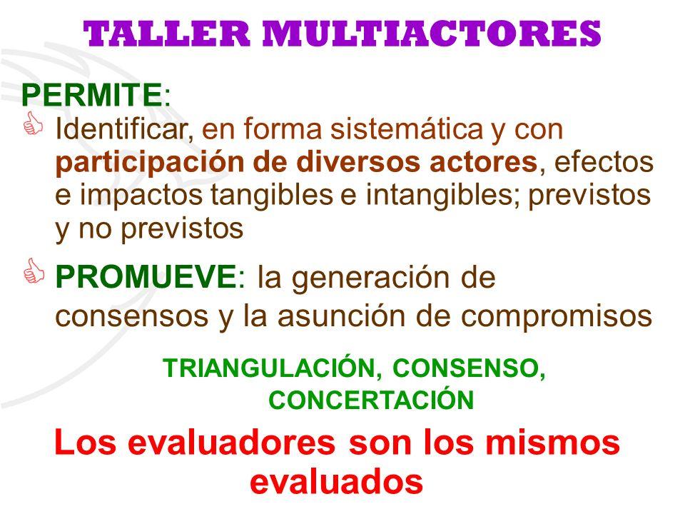 PERMITE: Identificar, en forma sistemática y con participación de diversos actores, efectos e impactos tangibles e intangibles; previstos y no previst