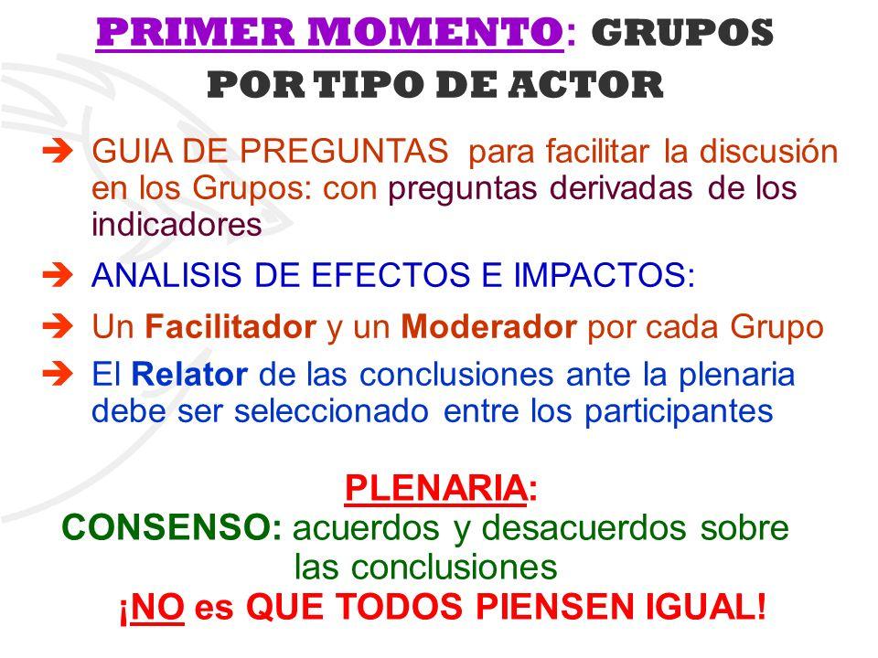 PRIMER MOMENTO : GRUPOS POR TIPO DE ACTOR GUIA DE PREGUNTAS para facilitar la discusión en los Grupos: con preguntas derivadas de los indicadores ANAL