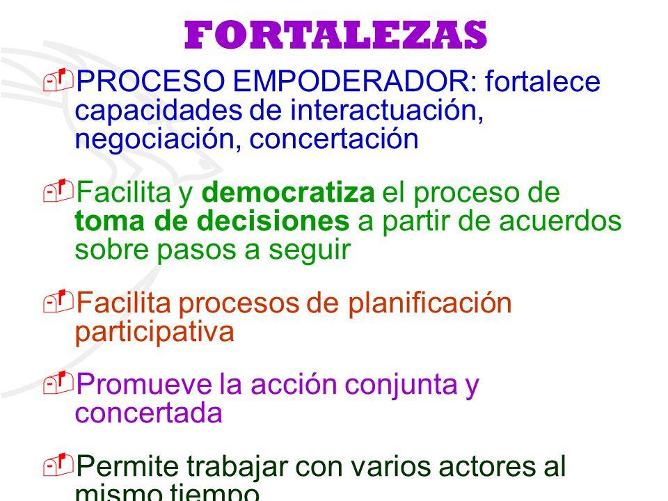 FORTALEZAS PROCESO EMPODERADOR: fortalece capacidades de interactuación, negociación, concertación Facilita y democratiza el proceso de toma de decisi