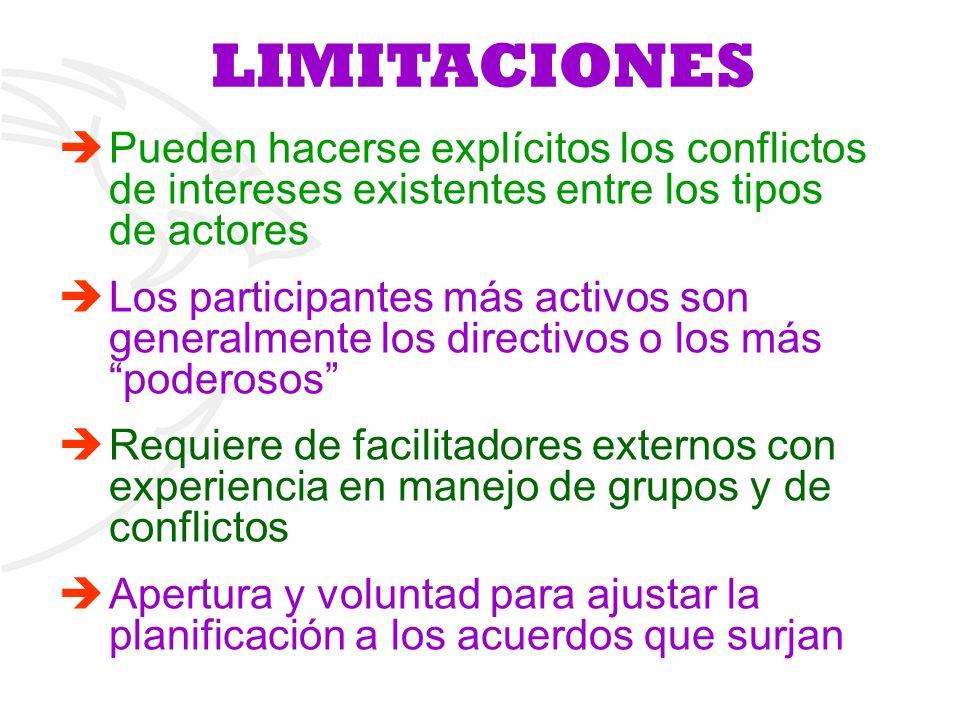 LIMITACIONES Pueden hacerse explícitos los conflictos de intereses existentes entre los tipos de actores Los participantes más activos son generalment