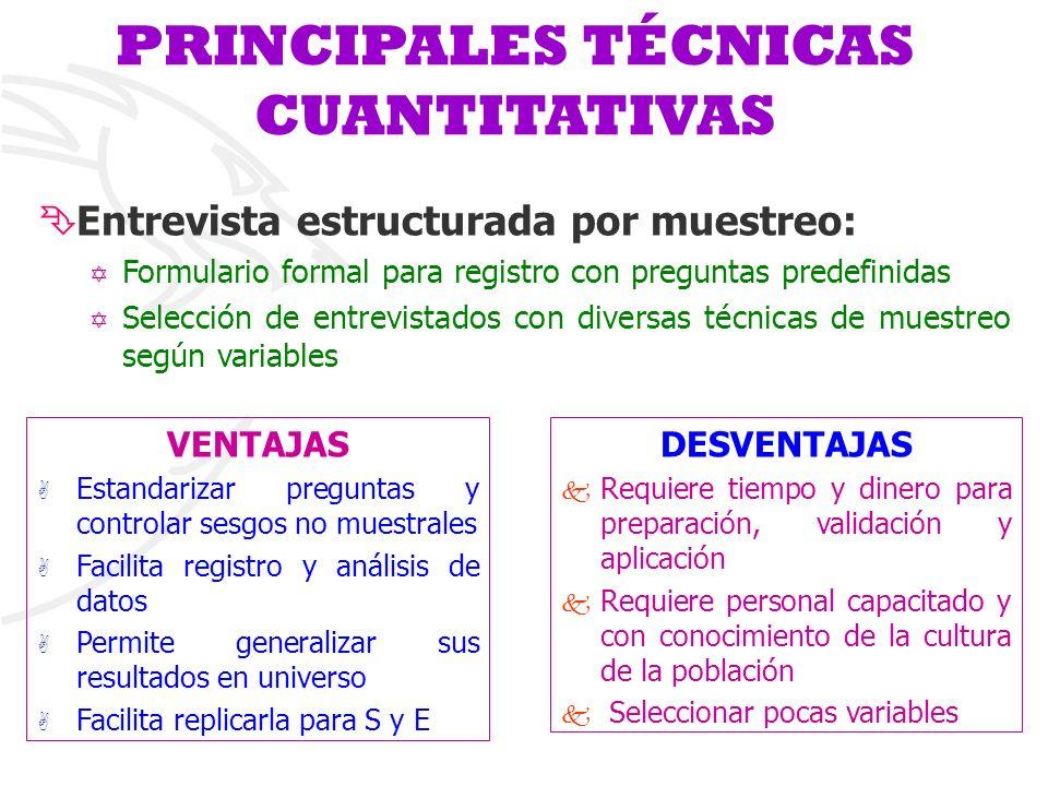 PRINCIPALES TÉCNICAS CUANTITATIVAS ÊEntrevista estructurada por muestreo: Y Formulario formal para registro con preguntas predefinidas Y Selección de