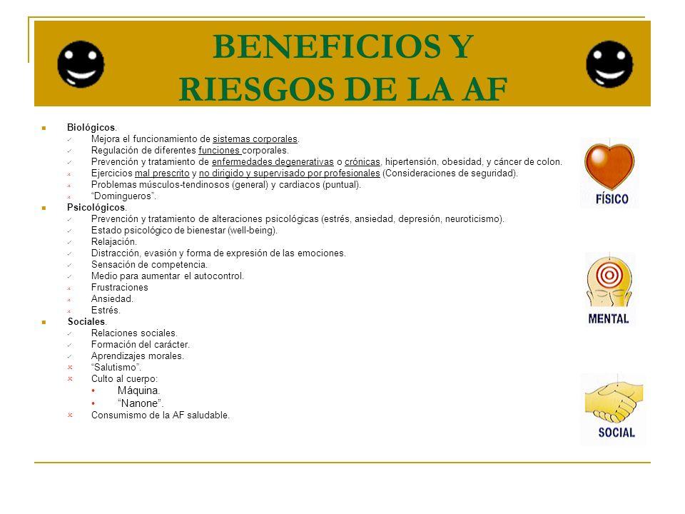 BENEFICIOS Y RIESGOS DE LA AF Biológicos. Mejora el funcionamiento de sistemas corporales. Regulación de diferentes funciones corporales. Prevención y