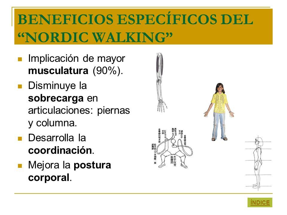 BENEFICIOS ESPECÍFICOS DEL NORDIC WALKING Implicación de mayor musculatura (90%). Disminuye la sobrecarga en articulaciones: piernas y columna. Desarr