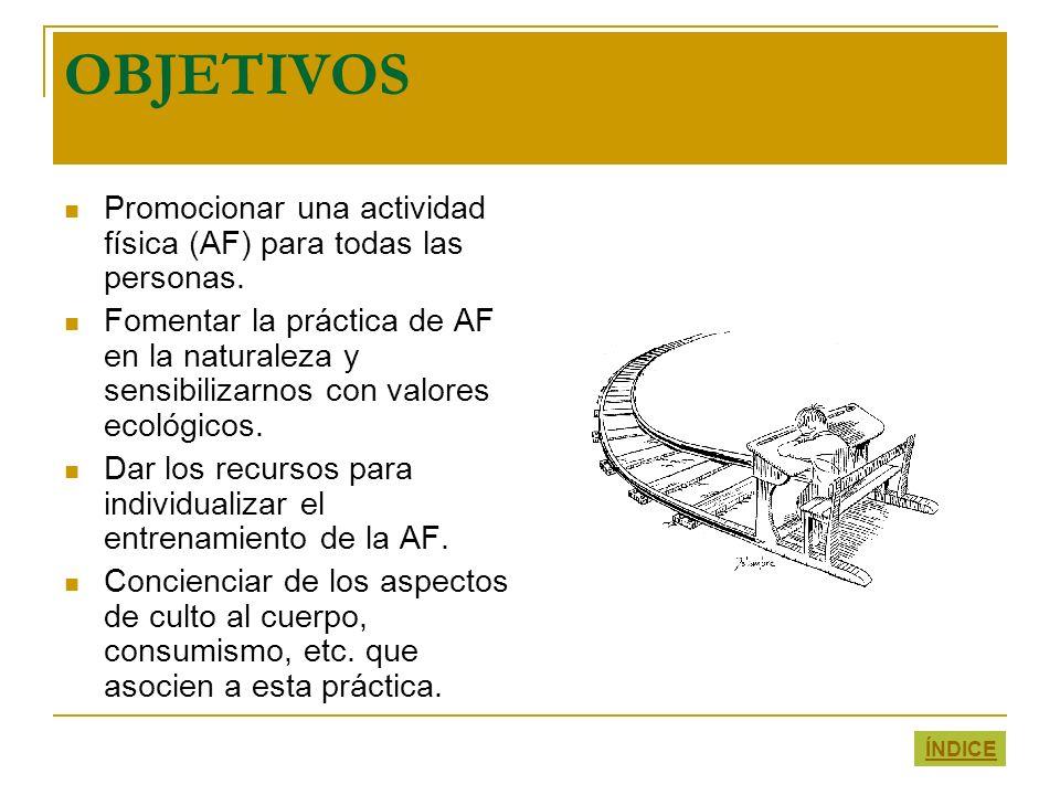 OBJETIVOS Promocionar una actividad física (AF) para todas las personas. Fomentar la práctica de AF en la naturaleza y sensibilizarnos con valores eco