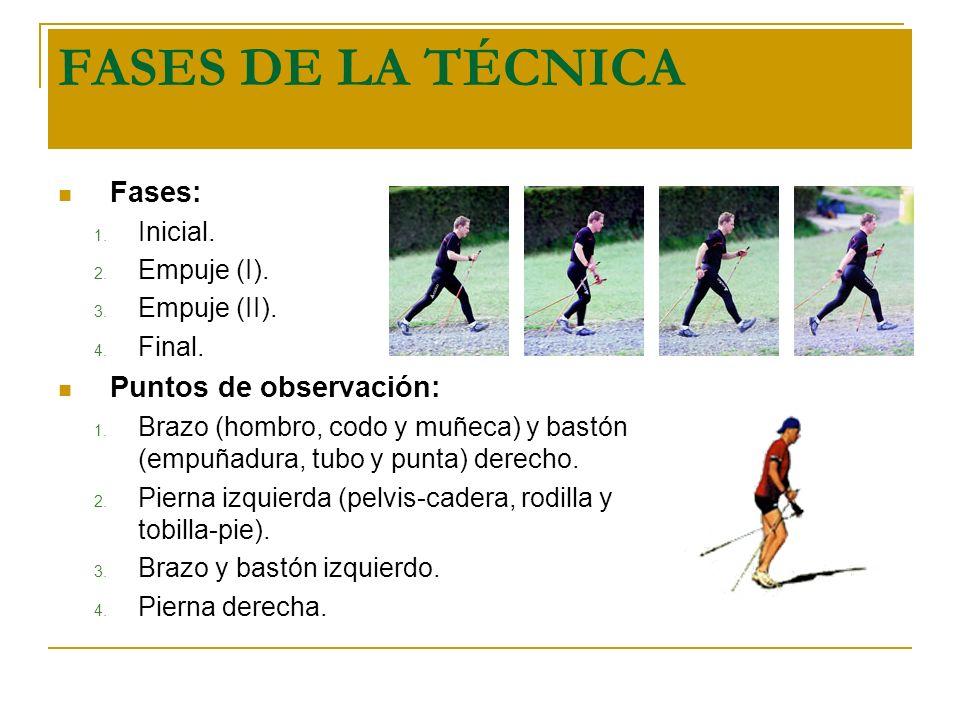 FASES DE LA TÉCNICA Fases: 1. Inicial. 2. Empuje (I). 3. Empuje (II). 4. Final. Puntos de observación: 1. Brazo (hombro, codo y muñeca) y bastón (empu