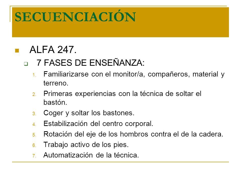 SECUENCIACIÓN ALFA 247. 7 FASES DE ENSEÑANZA: 1. Familiarizarse con el monitor/a, compañeros, material y terreno. 2. Primeras experiencias con la técn