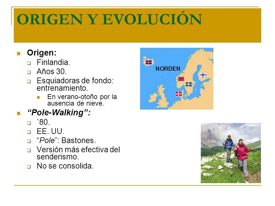 ORIGEN Y EVOLUCIÓN Origen: Finlandia. Años 30. Esquiadoras de fondo: entrenamiento. En verano-otoño por la ausencia de nieve. Pole-Walking: `80. EE. U