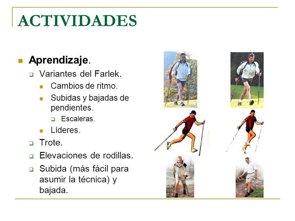 ACTIVIDADES Aprendizaje. Variantes del Farlek. Cambios de ritmo. Subidas y bajadas de pendientes. Escaleras. Líderes. Trote. Elevaciones de rodillas.