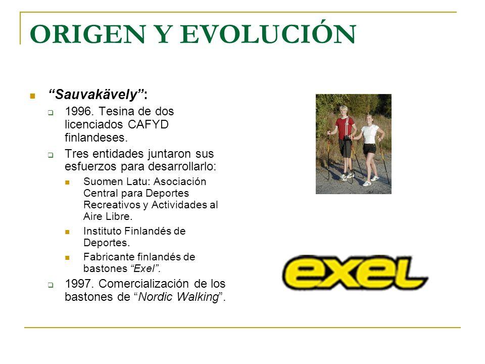 ORIGEN Y EVOLUCIÓN Sauvakävely: 1996. Tesina de dos licenciados CAFYD finlandeses. Tres entidades juntaron sus esfuerzos para desarrollarlo: Suomen La
