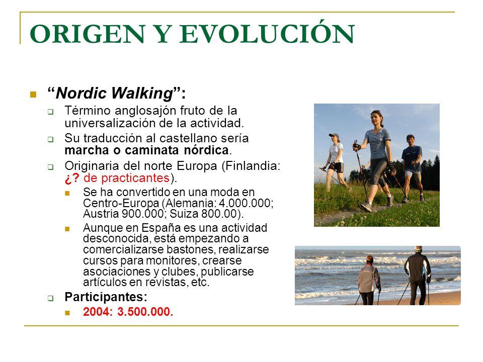 ORIGEN Y EVOLUCIÓN Nordic Walking: Término anglosajón fruto de la universalización de la actividad. Su traducción al castellano sería marcha o caminat