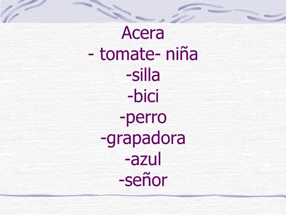 Acera - tomate- niña -silla -bici -perro -grapadora -azul -señor