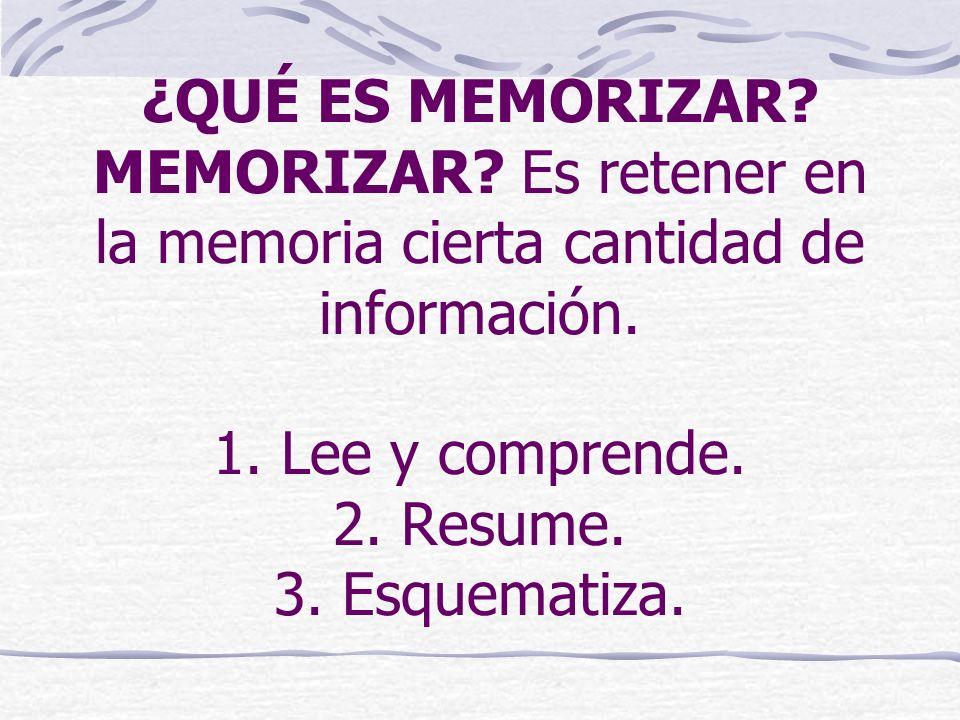¿QUÉ ES MEMORIZAR? MEMORIZAR? Es retener en la memoria cierta cantidad de información. 1. Lee y comprende. 2. Resume. 3. Esquematiza.