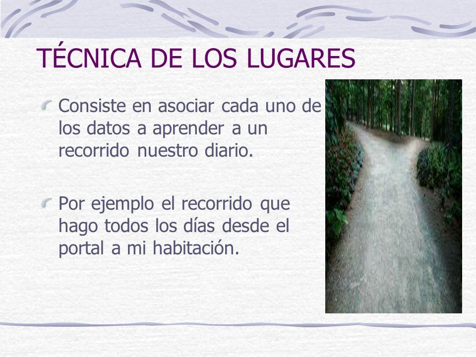 TÉCNICA DE LOS LUGARES Consiste en asociar cada uno de los datos a aprender a un recorrido nuestro diario. Por ejemplo el recorrido que hago todos los