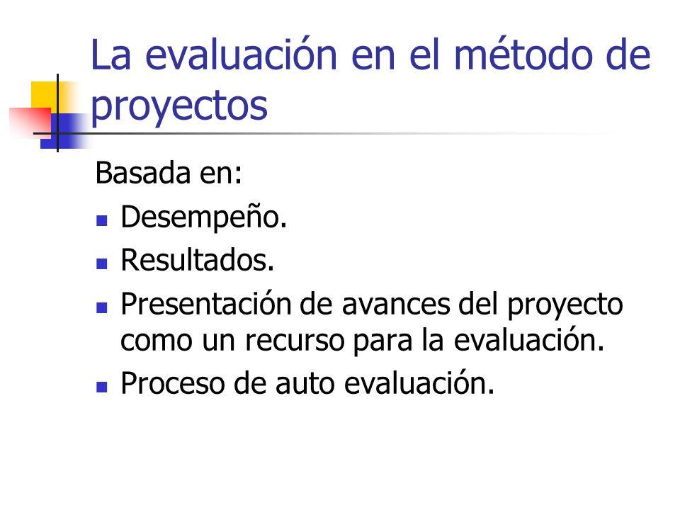La evaluación en el método de proyectos Basada en: Desempeño. Resultados. Presentación de avances del proyecto como un recurso para la evaluación. Pro