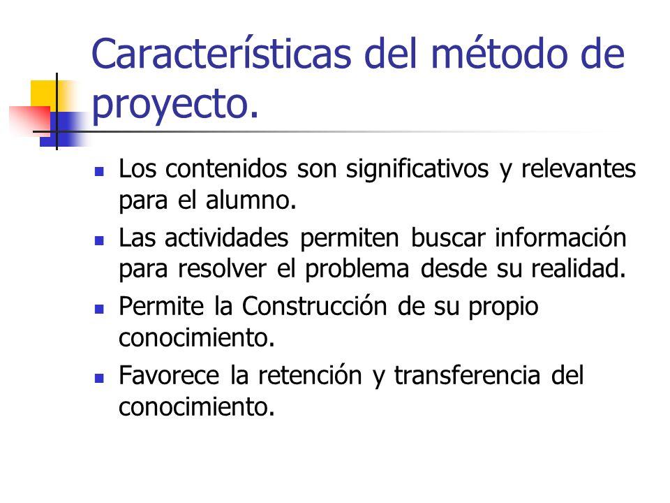 Características del método de proyecto. Los contenidos son significativos y relevantes para el alumno. Las actividades permiten buscar información par
