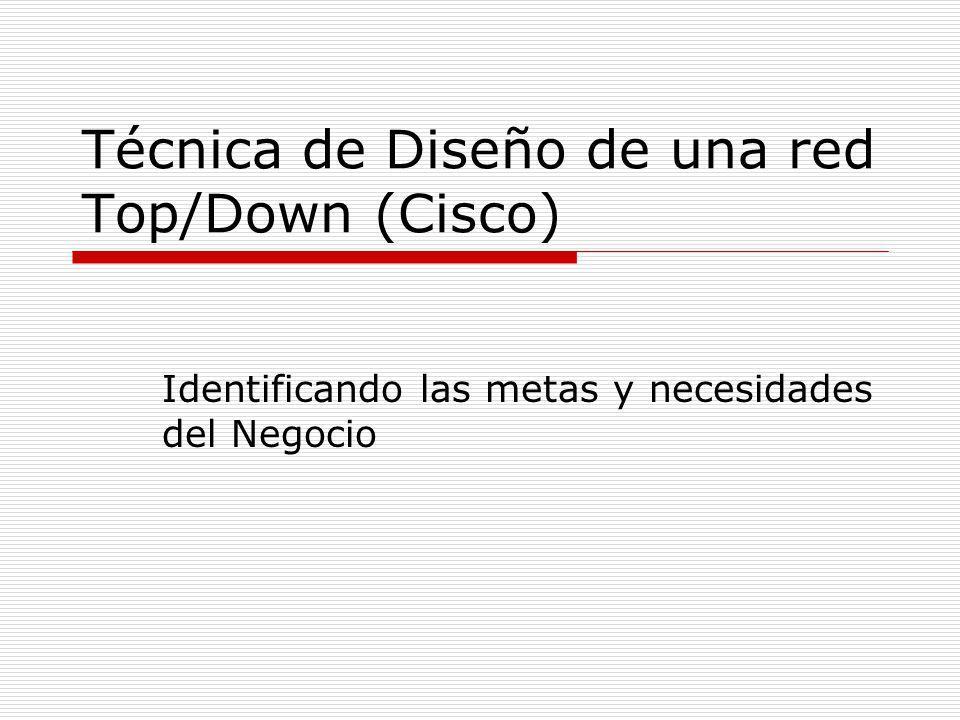 Técnica de Diseño de una red Top/Down (Cisco) Identificando las metas y necesidades del Negocio