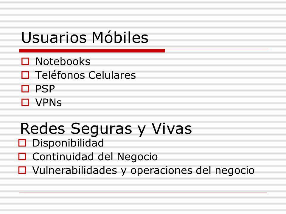 Usuarios Móbiles Notebooks Teléfonos Celulares PSP VPNs Redes Seguras y Vivas Disponibilidad Continuidad del Negocio Vulnerabilidades y operaciones de
