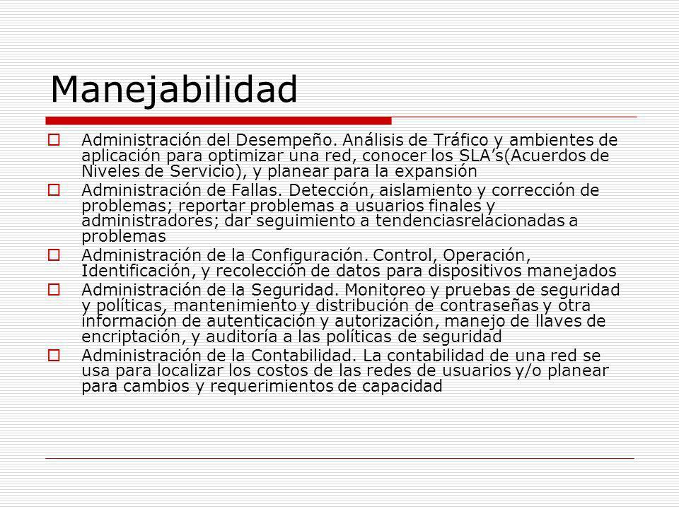 Manejabilidad Administración del Desempeño. Análisis de Tráfico y ambientes de aplicación para optimizar una red, conocer los SLAs(Acuerdos de Niveles