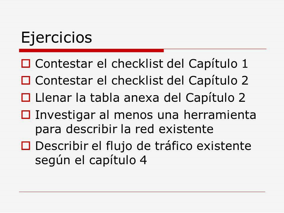 Ejercicios Contestar el checklist del Capítulo 1 Contestar el checklist del Capítulo 2 Llenar la tabla anexa del Capítulo 2 Investigar al menos una he
