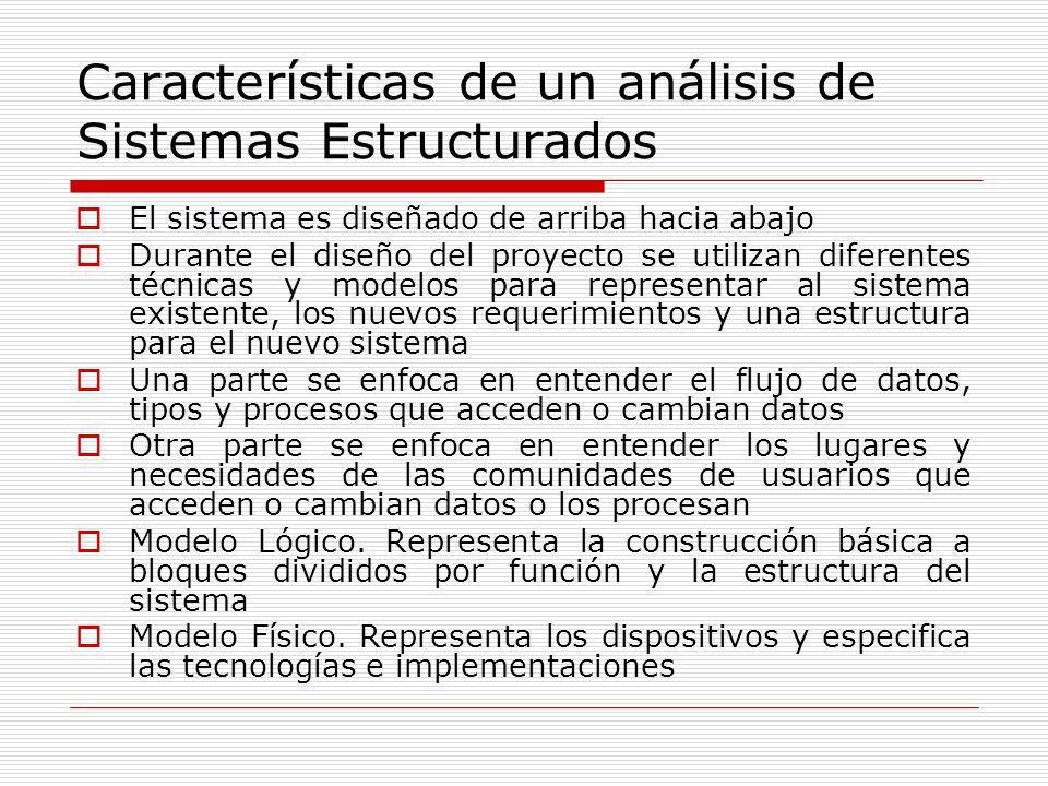 Características de un análisis de Sistemas Estructurados El sistema es diseñado de arriba hacia abajo Durante el diseño del proyecto se utilizan difer