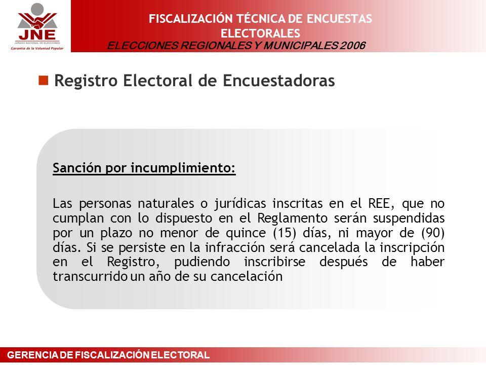 ELECCIONES REGIONALES Y MUNICIPALES 2006 GERENCIA DE FISCALIZACIÓN ELECTORAL FISCALIZACIÓN TÉCNICA DE ENCUESTAS ELECTORALES Registro Electoral de Encuestadoras Sanción por incumplimiento: Las personas naturales o jurídicas inscritas en el REE, que no cumplan con lo dispuesto en el Reglamento serán suspendidas por un plazo no menor de quince (15) días, ni mayor de (90) días.