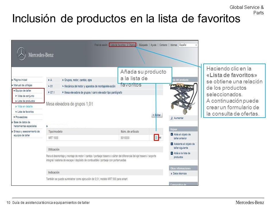 Global Service & Parts Guía de asistencia técnica equipamientos de taller10 Inclusión de productos en la lista de favoritos Añada su producto a la lista de favoritos Haciendo clic en la «Lista de favoritos» se obtiene una relación de los productos seleccionados.