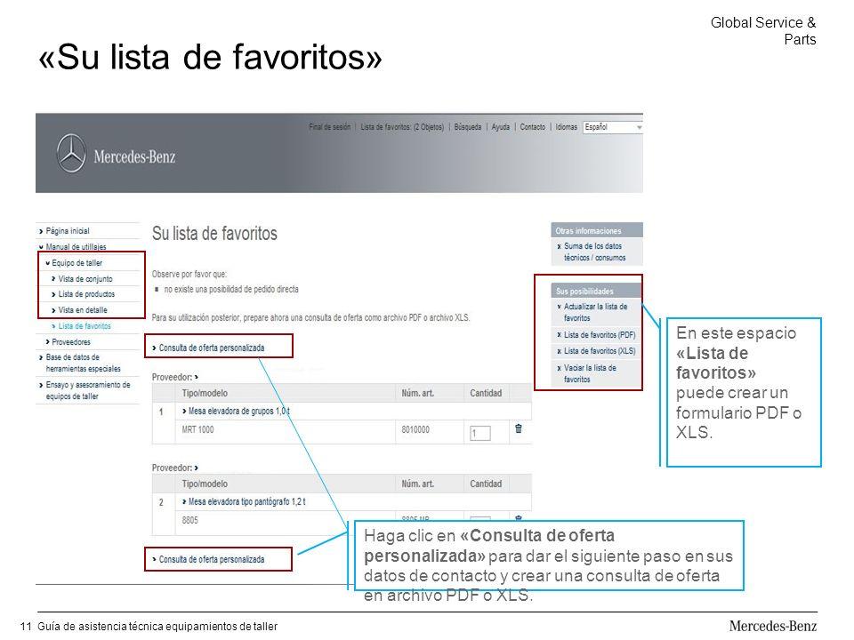 Global Service & Parts Guía de asistencia técnica equipamientos de taller11 «Su lista de favoritos» Haga clic en «Consulta de oferta personalizada» para dar el siguiente paso en sus datos de contacto y crear una consulta de oferta en archivo PDF o XLS.