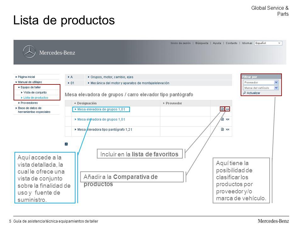 Global Service & Parts Guía de asistencia técnica equipamientos de taller6 Comparativa de productos Haciendo clic en el símbolo de comparación se memorizan los productos seleccionados para establecer su comparación.