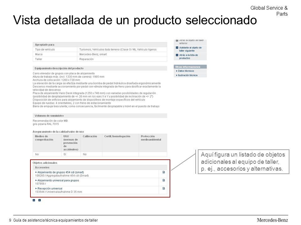 Global Service & Parts Guía de asistencia técnica equipamientos de taller9 Vista detallada de un producto seleccionado Aquí figura un listado de objetos adicionales al equipo de taller, p.