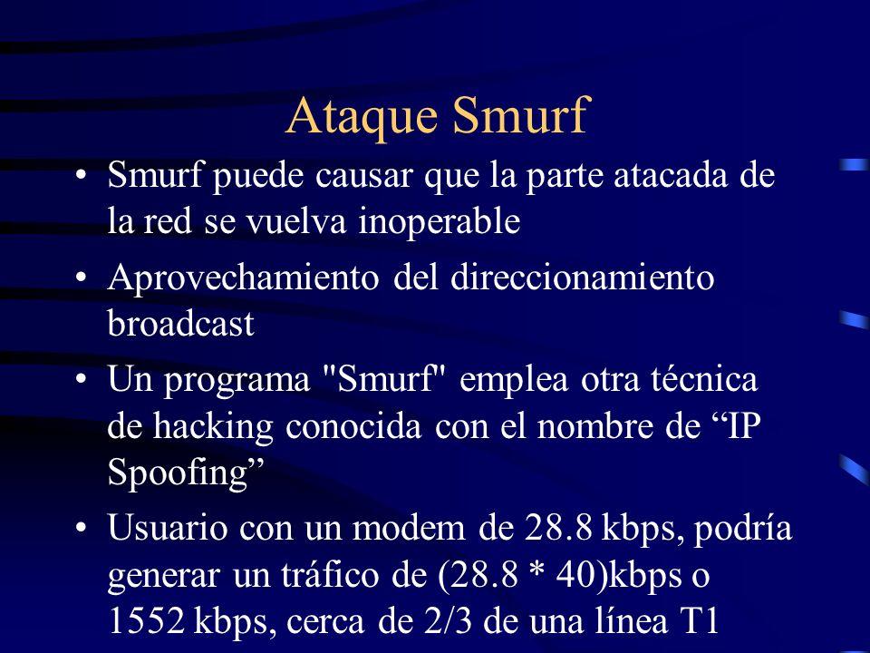 Ataque Smurf - Componentes El Atacante: persona que crea los paquetes ICMP con la IP fuente falsa y lanza el ataque.
