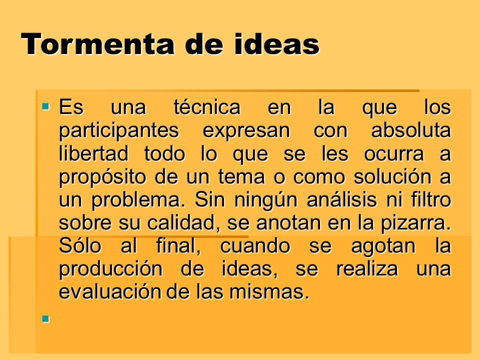 Tormenta de ideas Es una técnica en la que los participantes expresan con absoluta libertad todo lo que se les ocurra a propósito de un tema o como solución a un problema.