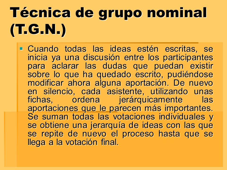 Técnica de grupo nominal (T.G.N.) Cuando todas las ideas estén escritas, se inicia ya una discusión entre los participantes para aclarar las dudas que puedan existir sobre lo que ha quedado escrito, pudiéndose modificar ahora alguna aportación.