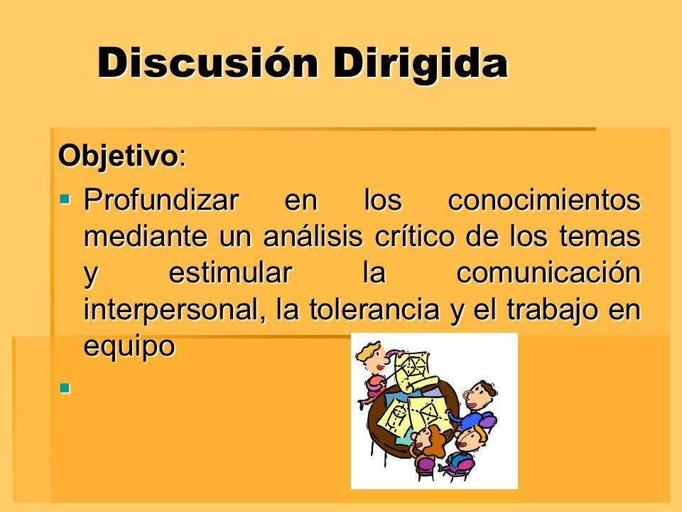 Discusión Dirigida Objetivo: Profundizar en los conocimientos mediante un análisis crítico de los temas y estimular la comunicación interpersonal, la