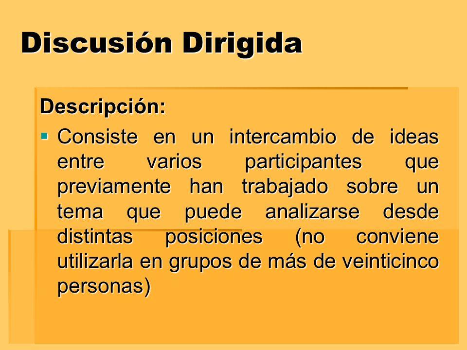 Discusión Dirigida Descripción: Consiste en un intercambio de ideas entre varios participantes que previamente han trabajado sobre un tema que puede a