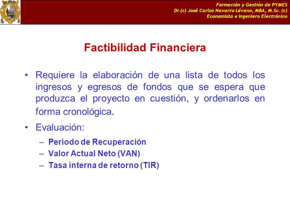 Formación y Gestión de PYMES Dr.(c) José Carlos Navarro Lévano, MBA, M.Sc. (c) Economista e Ingeniero Electrónico Factibilidad Financiera Requiere la