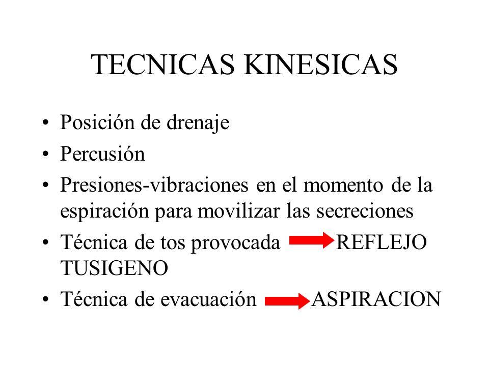 TECNICAS KINESICAS Posición de drenaje Percusión Presiones-vibraciones en el momento de la espiración para movilizar las secreciones Técnica de tos provocada REFLEJO TUSIGENO Técnica de evacuación ASPIRACION