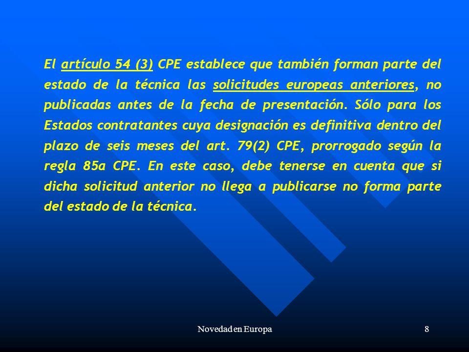 Novedad en Europa29 Suponiendo la presentación de una solicitud de patente española (ES) y la presentación posterior de una solicitud de patente francesa (FR) para la misma invención y reivindicando la prioridad española, la publicación del contenido de la invención no destruye la novedad de la solicitud de patente francesa posterior a dicha publicación porque la fecha efectiva de presentación de dicha solicitud es la de la solicitud de patente española, anterior a la publicación, como muestra el gráfico siguiente: prioridad ES Publ.
