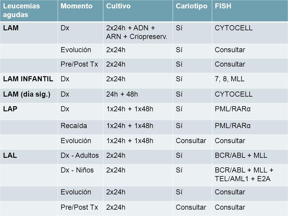 Leucemias agudas MomentoCultivoCariotipoFISH LAMDx2x24h + ADN + ARN + Criopreserv. SíCYTOCELL Evolución2x24hSíConsultar Pre/Post Tx2x24hSíConsultar LA