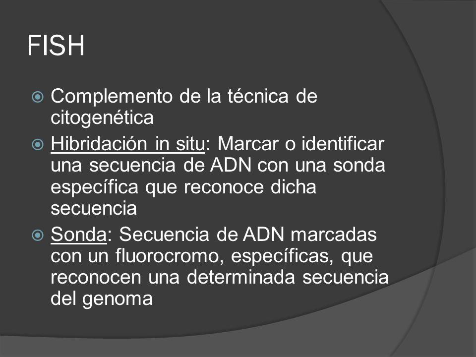 FISH Complemento de la técnica de citogenética Hibridación in situ: Marcar o identificar una secuencia de ADN con una sonda específica que reconoce dicha secuencia Sonda: Secuencia de ADN marcadas con un fluorocromo, específicas, que reconocen una determinada secuencia del genoma