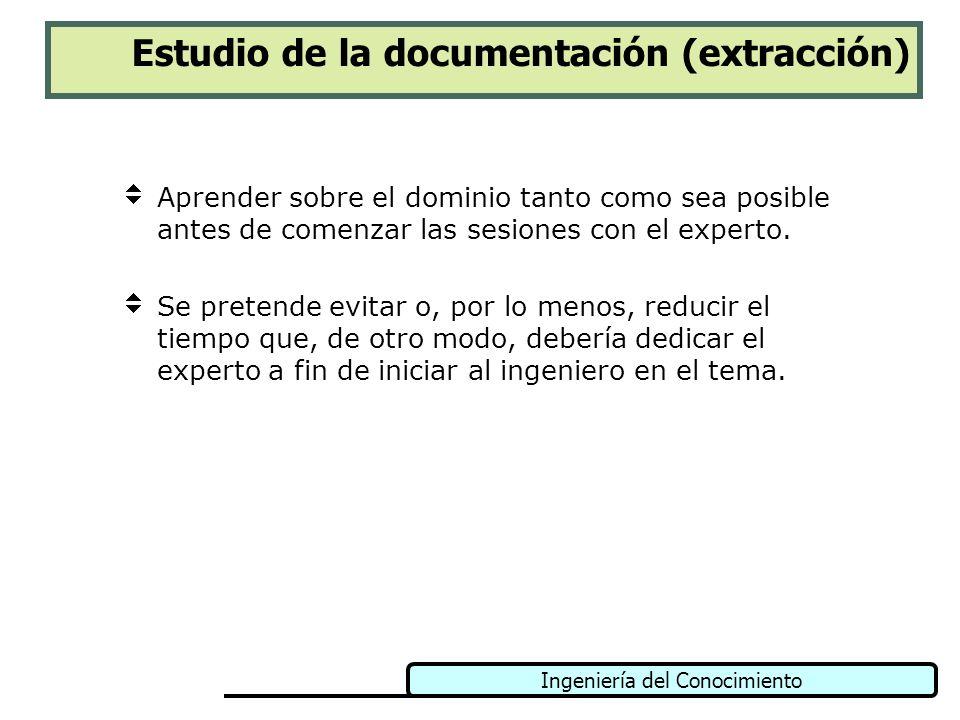 Ingeniería del Conocimiento Estudio de la documentación (extracción) Aprender sobre el dominio tanto como sea posible antes de comenzar las sesiones c