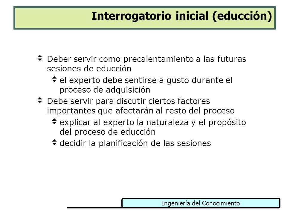 Ingeniería del Conocimiento Interrogatorio inicial (educción) Deber servir como precalentamiento a las futuras sesiones de educción el experto debe se