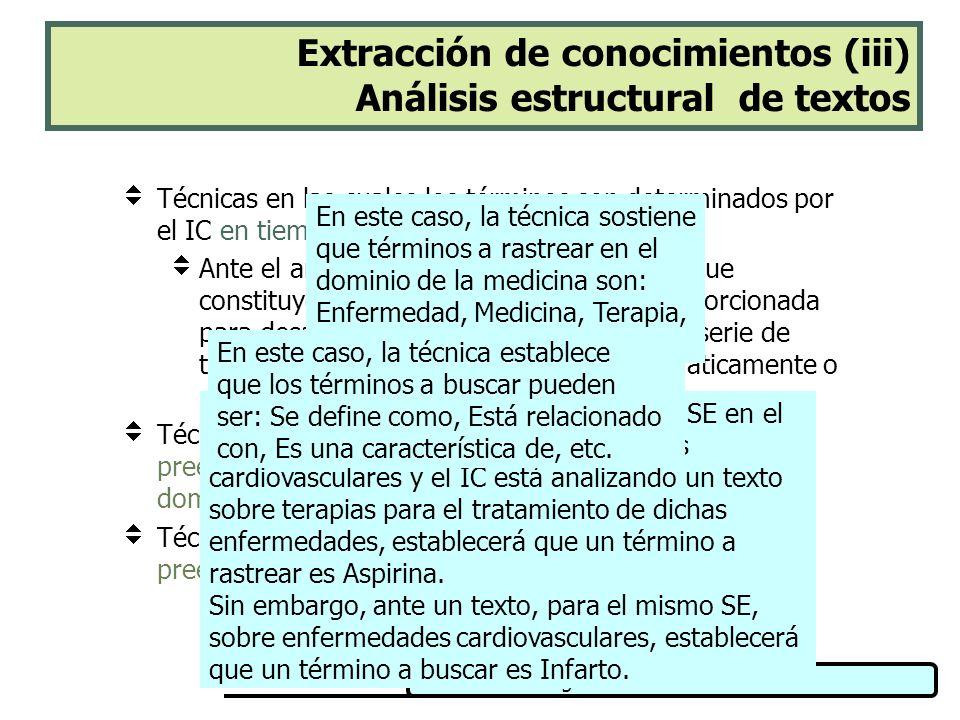 Ingeniería del Conocimiento Extracción de conocimientos (iii) Análisis estructural de textos Técnicas en las cuales los términos son determinados por