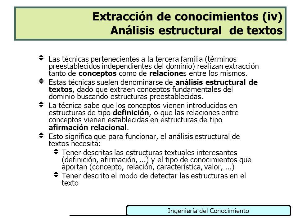 Ingeniería del Conocimiento Extracción de conocimientos (iv) Análisis estructural de textos Las técnicas pertenecientes a la tercera familia (términos