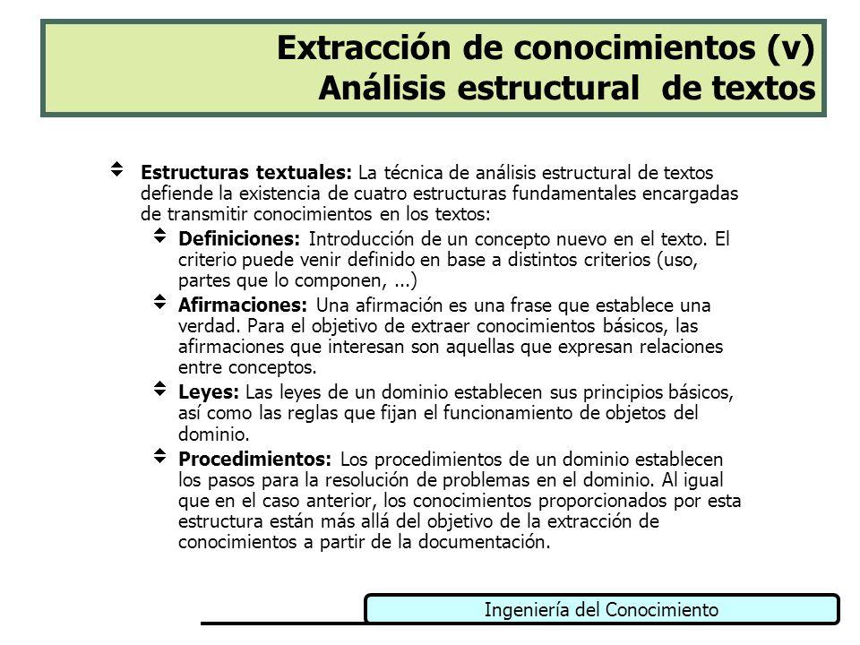 Ingeniería del Conocimiento Extracción de conocimientos (v) Análisis estructural de textos Estructuras textuales: La técnica de análisis estructural d