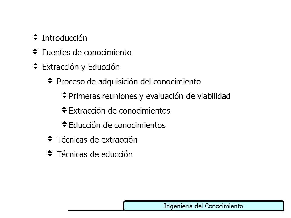 Ingeniería del Conocimiento Introducción Fuentes de conocimiento Extracción y Educción Proceso de adquisición del conocimiento Primeras reuniones y ev