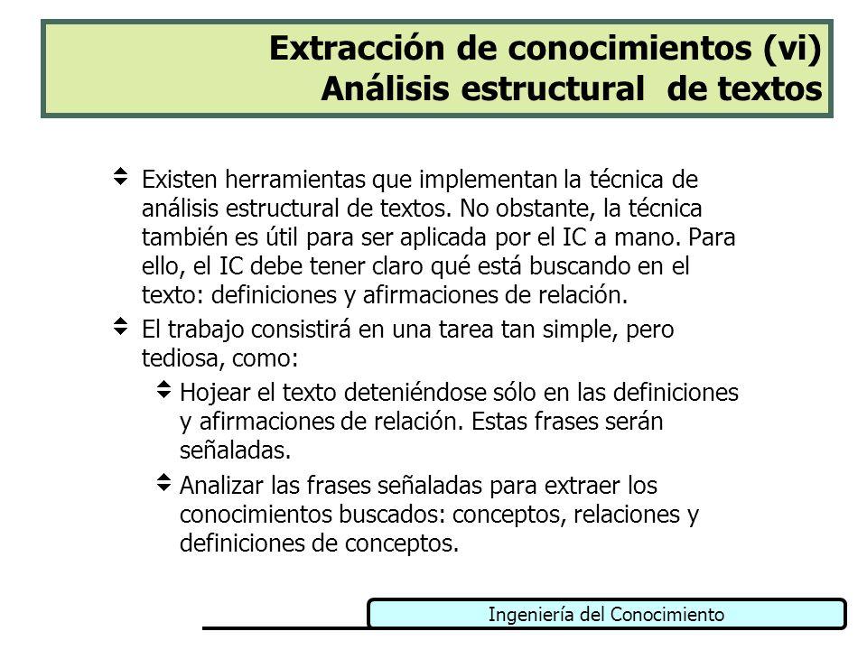 Ingeniería del Conocimiento Extracción de conocimientos (vi) Análisis estructural de textos Existen herramientas que implementan la técnica de análisi
