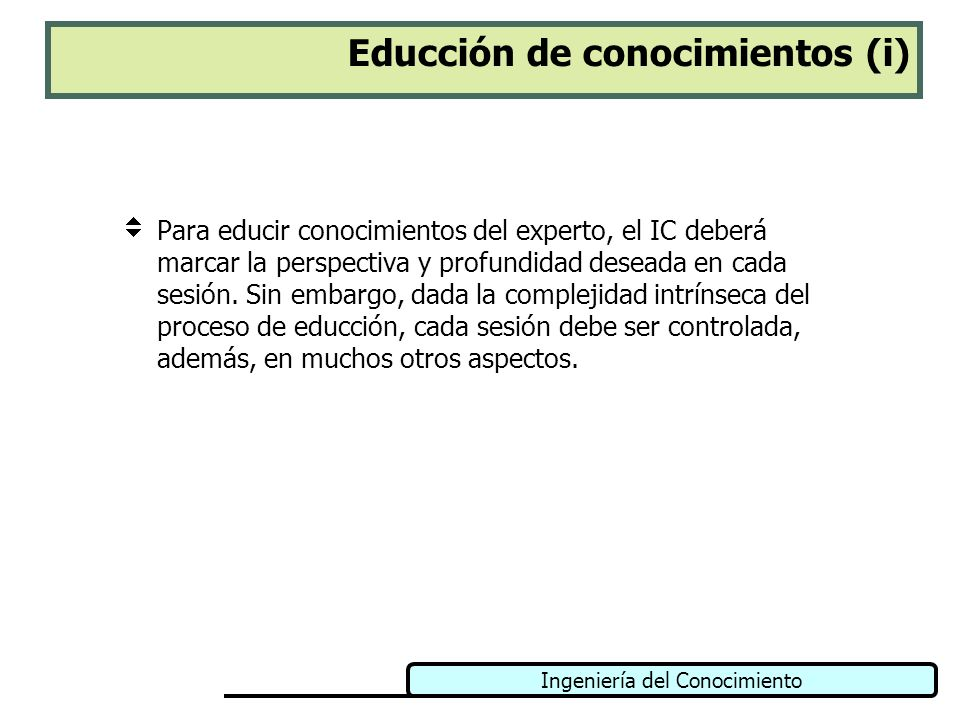 Ingeniería del Conocimiento Educción de conocimientos (i) Para educir conocimientos del experto, el IC deberá marcar la perspectiva y profundidad dese