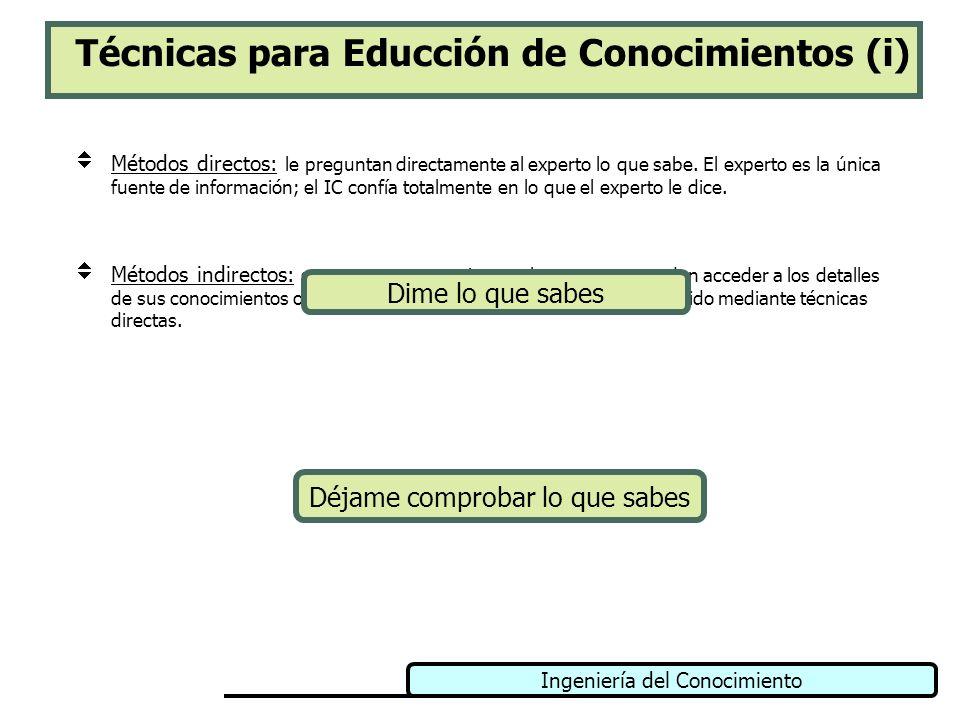 Ingeniería del Conocimiento Técnicas para Educción de Conocimientos (i) Métodos directos: le preguntan directamente al experto lo que sabe. El experto